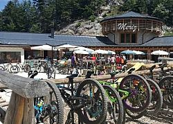 Meeting point of bikers in the Fai Zone of the Bike Park in Paganella