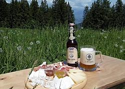 Relaxing in the mountains: a beer and some cold cuts - italian style aperitivo